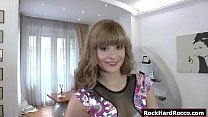 Teen brunette gets analed while casting