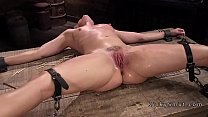 Strapped blonde nipples tormented