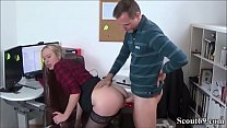 German Young Boy Seduce his MILF Co-Worker to Fuck - Jungspund fickt seine MILF Kollegin auf Arbeit durch