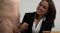 CFNM jerking loving managers's Thumb