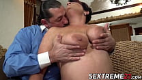 Busty old woman with hanging tits rides a massive hard cock thumbnail