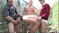 young french brunette anal fucked in foursome o... thumb