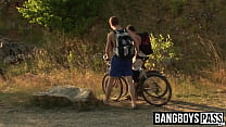 Bottom twink and his boyfriend bare fuck hard outdoors