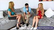 Julia Ann and Alexa Grace threesome session on the couch