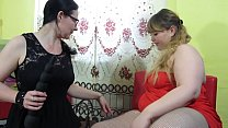 Chubby lesbians fuck each other with big dildos and make full vaginal fisting in their hairy pussy. Milf with glasses and BBW have some fun after a long separation.