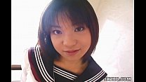 Pretty Japanese schoolgirl cumfaced uncensored