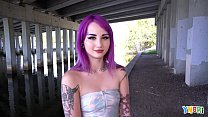 YNGR - Hot Inked Purple Hair Punk Teen Gets Banged