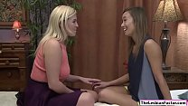 Blonde babe makes asian coach squirt