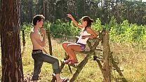 teen couple just 18 years outdoor in the deep grass thumbnail