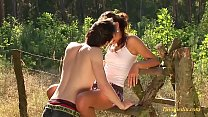 teen couple just 18 years outdoor in the deep grass Preview
