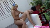 An horny shemale find a guy to satisfy her