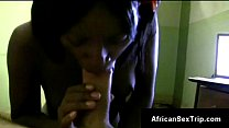 Hot petite ebony blows and rides in interracial homemade