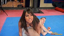 Melanie Memphis chases guy around tatami to ballbust him Preview
