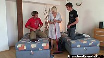 Blonde granny and boys teen threesome orgy