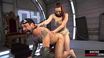 BDSM domina teases sub with bj and whipping