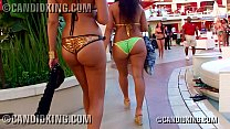 Candid big booty Latinas walking in skimpy thong bikinis showing ass in public!