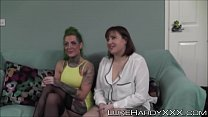 Horny sluts Laura and Madina roughly screwed by...