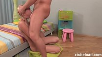 Super hot blonde in a rough deepthroat scene | ...