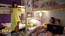 Fake Hostel Lesbian threesome with Lady Dee Emily Bright Sophia Lee