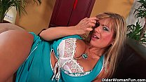 Gorgeous milf Adele with big tits fucks herself with a dildo preview image