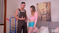 Hot teen Stella Cox gets her pink pussy and asshole fucked by delivery man