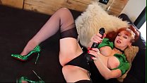 JOI instruction with giant BIG BLACK DICK toy deep in british twat