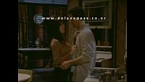 Busty Brunette Fondled In Kitchen