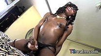 Black Shemale Brii Plays With Her Cock