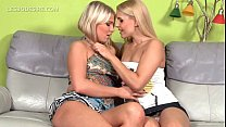 Aroused blonde lesbo licking hot boobs and ass