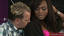 Busty ebony tranny Chanel Couture sucked by and fucks a guy