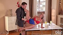 Leggy blondie Licky Lex receives two big hard d... thumb