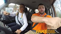 Fake Driving School Busty gym bunny big tits bounce as she squats on cock Image