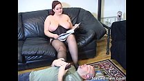 Worshipping chubby big titted mistress' pantyhosed feet