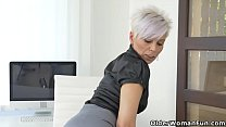 Euro milf Kathy White gives her pantyhosed puss...