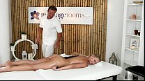 Hot blonde oiled and fucked by muscle masseur Image