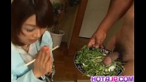 Mitsu Anno g ets cock deepthroat and cum in mouth in food fetish