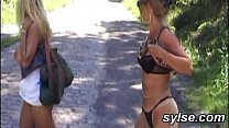 2 amateur lesbians toying in forest