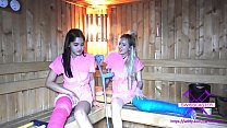 Fetish 2 Girls With Long Cast Leg In Sauna Lcl
