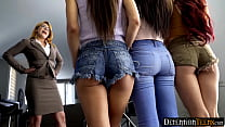 Detention teens have a hot lesbian threesome to...
