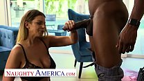 Naughty America - Brooklyn Chase takes black cock to save husbands job