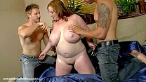 MILF is Oiled and Fucked by 2 Muscle Bound Studs