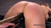 Locked down busty blonde gets sybian />                             <span class=