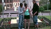 Daring public sex threesome in the middle of a city with a young cute teen girl