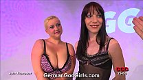 Blonde and brunette babes get their faces splattered with goo
