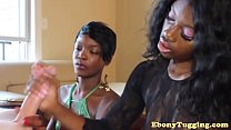 Glam ebony duo play with white cock together