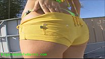 bubble butt slut in hot bikini showing her big ass gets fucked and cum on asshole