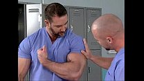 Hairy and muscular male in the hospital