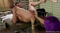 Tranny secretary anal fucks bent over man