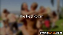 Interracial orgy with blowjob and fucking in a swingers reality show Vorschaubild