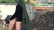 Cute blonde fucked by 2 guys in public with blo...
